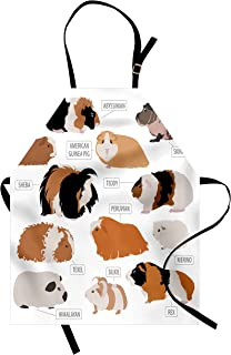 Lunarable Guinea Pig Apron, Infographic Design Classification for Types of Rodent Breeds, Unisex Kitchen Bib with Adjustable Neck for Cooking Gardening, Adult Size, Brown Ginger