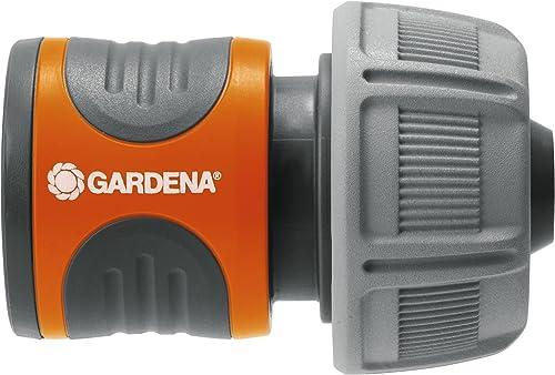 Gardena 18216-20 Conector para el Inicio de la Manguera, hermético, Mango ranurado, Montaje Sencillo, Gris, Naranja, ...