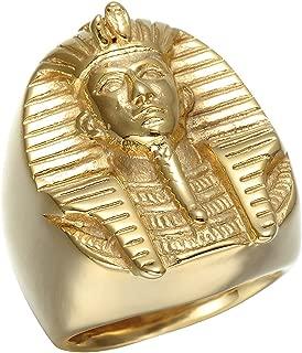 Egyptian Pharaoh Gold Stainless Steel Personalized Biker Ring Men's Charm Ring
