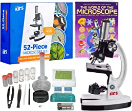 "AmScope 1200X 52-pcs Kids Student Beginner Microscope Kit with Slides, LED Light, Storage Box and Book""The World of The Microscope"""