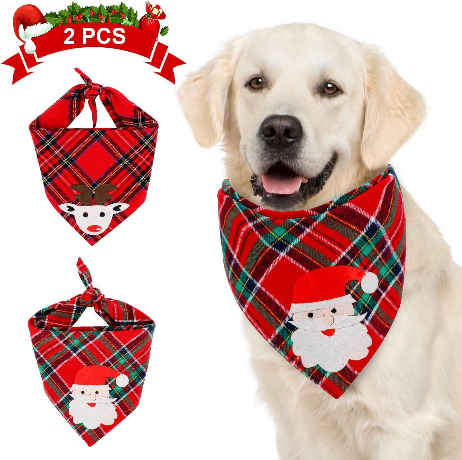 QKURT 2 Translated PCS Christmas Bandana Dog Boston Mall Plaid Classic