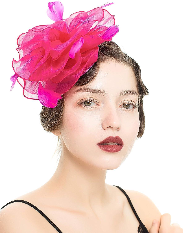 Vintage Flower Mesh Feathers Fascinators Hat for Kentucky free Women Ranking TOP13