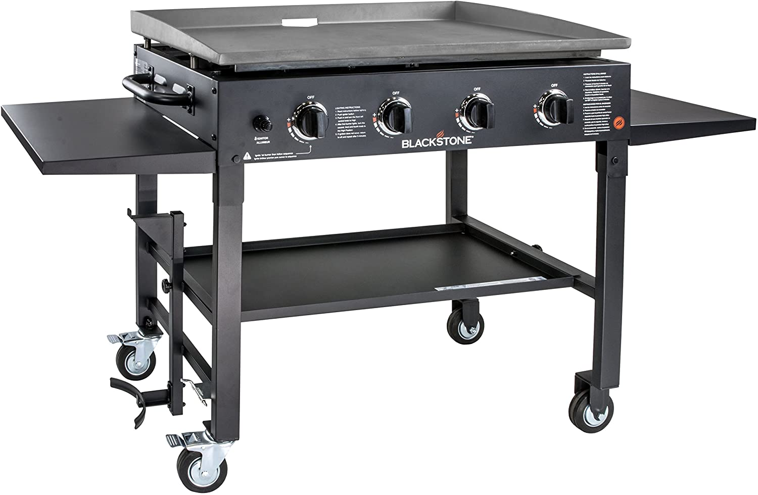 Amazon Com Blackstone 1554 Cooking 4 Burner Flat Top Gas Grill Propane Fuelled Restaurant Grade Professional 36 Outdoor Griddle Station With Side Shelf 36 Inch Black Garden Outdoor