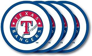 مجموعة قواعد أكواب من الفينيل بشعار فريق تكساس رينجرز التابع لدوري البيسبول الرئيسي (عبوة من 4 قطع)