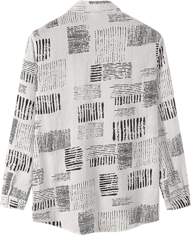 Hawaiian Shirt for Men Printed Long Sleeve Button Down Shirt Vintage Front Pocket Long Sleeve Regular-fit Casual Shirt