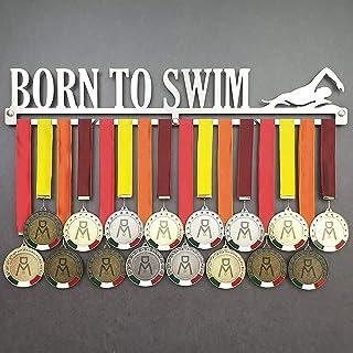MEDALdisplay Born TO Swim - Medagliere da Parete - Porta medaglie Nuoto, Swimming - Sport Medal Hanger - Display Rack - Ac...