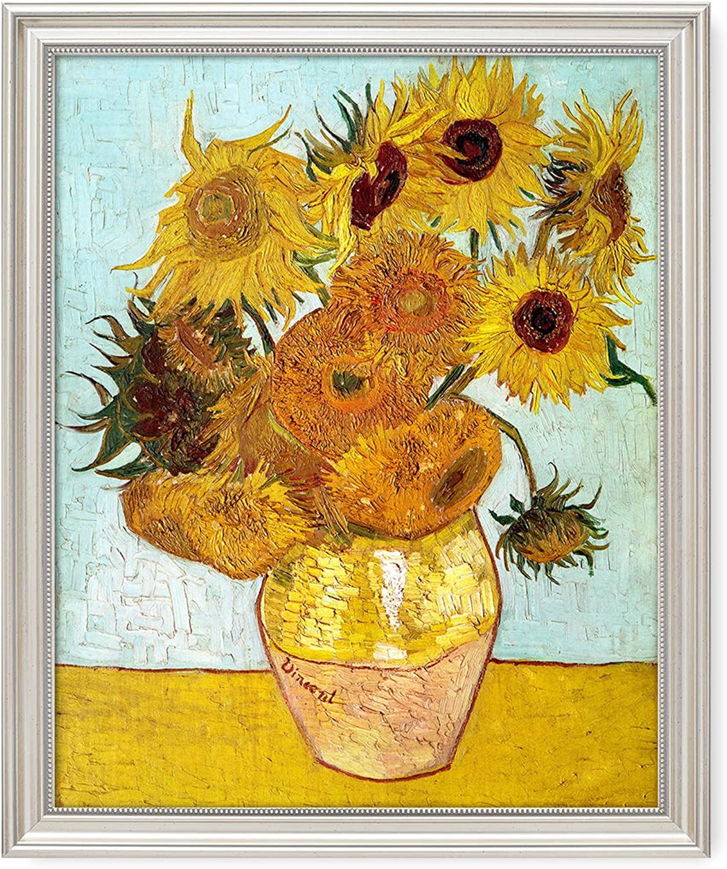 DECORARTS - Twelve Sunflowers, Vincent Van Gogh Art Reproduction. Giclee Print& Framed Art for Wall Decor. 20x16, Framed Size  22x18