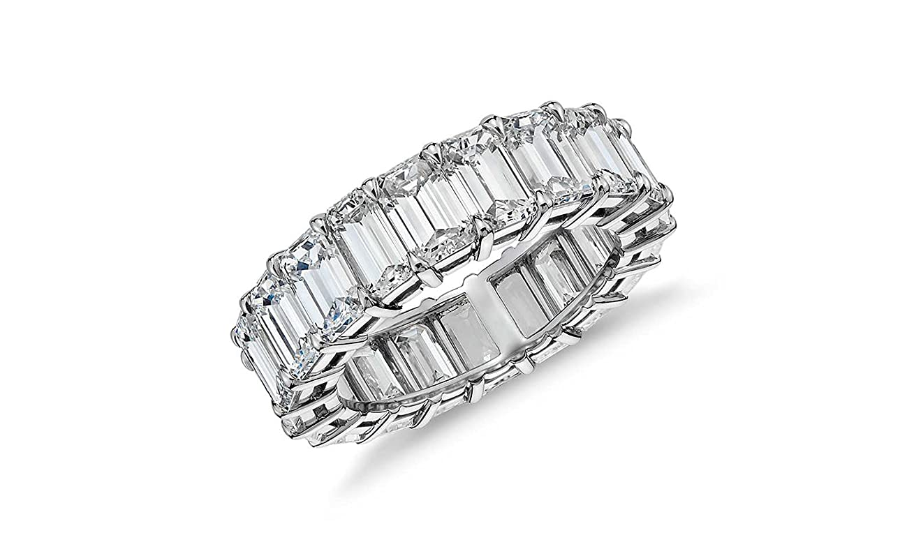 Sterling Silver Emerald Cut Eternity Band Cz Ring - Beautifully Crafted Eternity Ring Emerald Cut Cz Stones