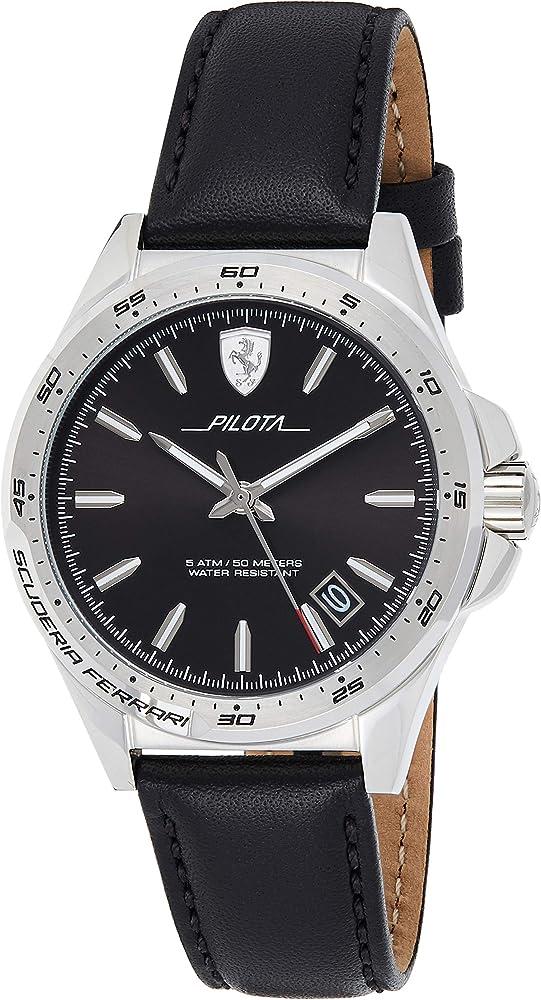 scuderia ferrari orologio analogico uomo con cinturino in pelle 830523
