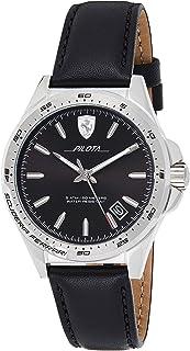 Ferrari Mens Quartz Watch, Analog Display and Leather Strap 830523