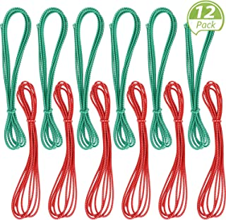 79 Inches Chinese Jump Rope Red and Green Chinese Jump Rope Stretch Rope Elastic Fitness Jump Game for Popular Outdoor Exercise (12 Pieces)