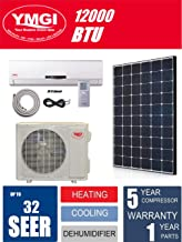 YMGI Ductless Mini Split Air Conditioner 1 Ton 12000 BTU Solar Assist Ductless Mini Split Air Conditioner Heat Pump with Solar Panel and 25 Ft Installation Lineset