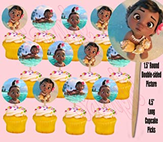 Party Over Here Baby Moana Hawaiian Movie Double-Sided Cupcake Picks Cake Toppers -12 pcs