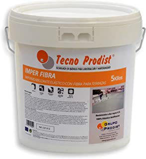 IMPER FIBRA de Tecno Prodist - 5 Kg (BLANCO) Pintura Impermeabilizante elástica para Terrazas con Fibras Incorporadas - Buena Calidad - (A Rodillo o brocha, disponible en color rojo o blanco)