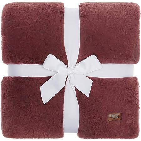 "UGG Euphoria Plush Faux Fur – Reversible Throw Blanket - Dusty Rose - 50"" x 70"""