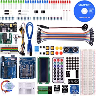 Quimat UNOR3 Project Super Starter Kit with Free Tutorial,Complete Robotics Sensor Kit with Breadboard,Protoboard,Nano Board,5V Relay,Power Supply Module,Stepper Motor, Compatible with ArduinoIDE