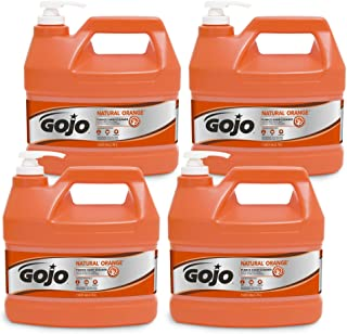 GOJO NATURAL ORANGE Pumice Hand Cleaner, 1 Gallon Quick Acting Lotion Hand Cleaner with Pumice Pump Bottle (Pack of 4) - 0955-04