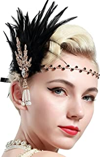 BABEYOND Art Deco 1920's Flapper Great Gatsby Inspired Leaf Medallion Pearl Headband Black Feather (Gold and Black Feather)
