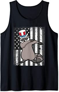 Dabbing Raccoon Dab For Freedom Patriotic Merica 4th of July Tank Top