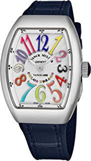 Vanguard Color Dreams Womens Swiss Quartz Watch - Tonneau Silver Face with Luminous Hands and Sapphire Crystal - Blue Leather/Rubber Strap Ladies Watch V 32 SC at FO COL DRM