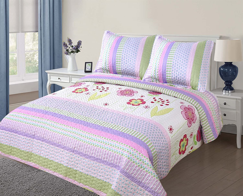 golden Linens Full Size (1 Quilt, 2 Shams) Light Purple Pink Stripe Floral Kids Teens Girls Quilt Bedspread 0716 Girls