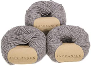 100% Baby Alpaca Yarn (Weight #3) DK - Set of 3 - AndeanSun - Luxuriously Soft for Knitting, Crocheting - Great for Baby Garments, Scarves, Hats, and Craft Projects - (Granite Rose Grey Heather)