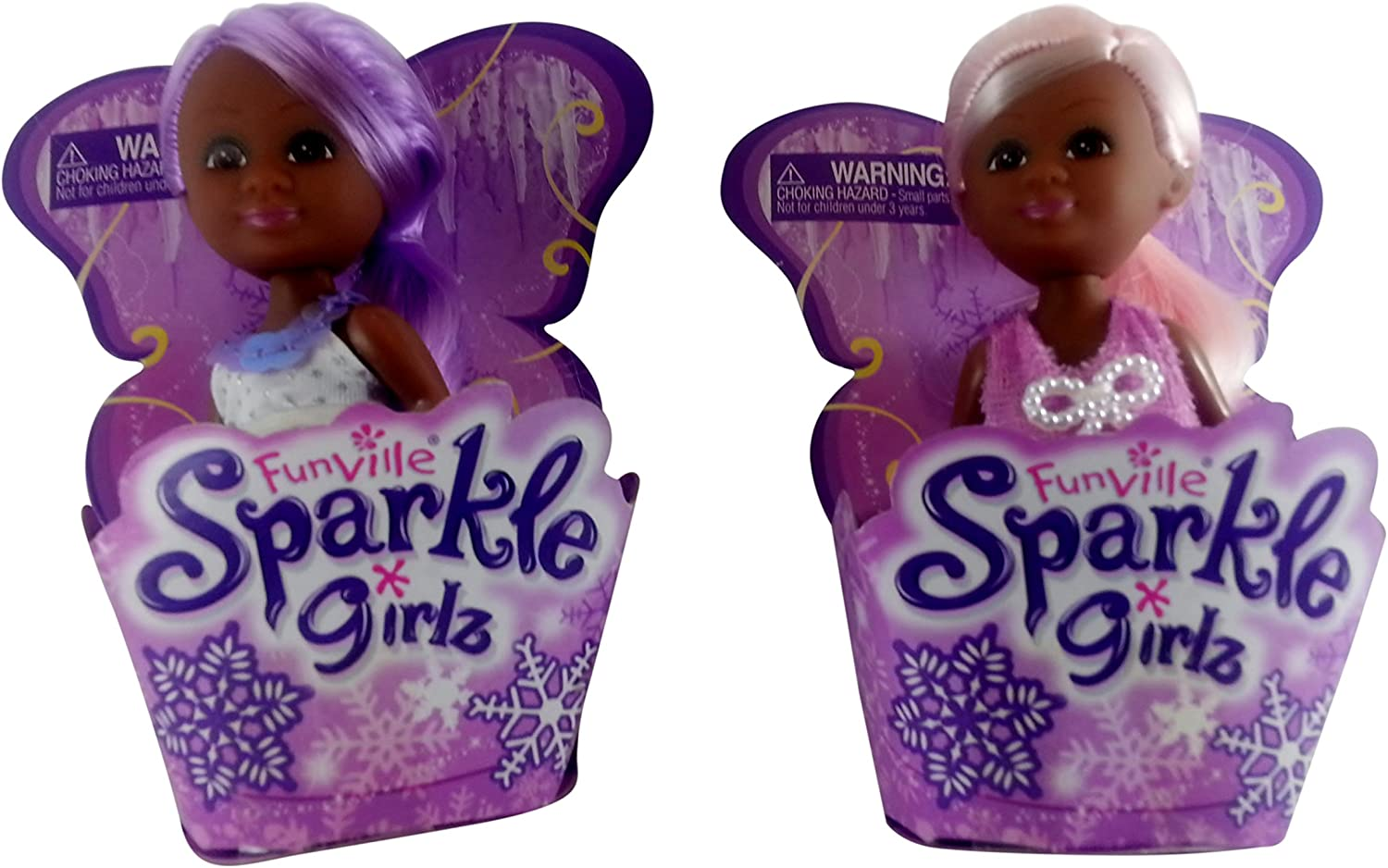 Funville Sparkle Girlz Little Princess Dolls, Set of 2 Pink and Purple Hair