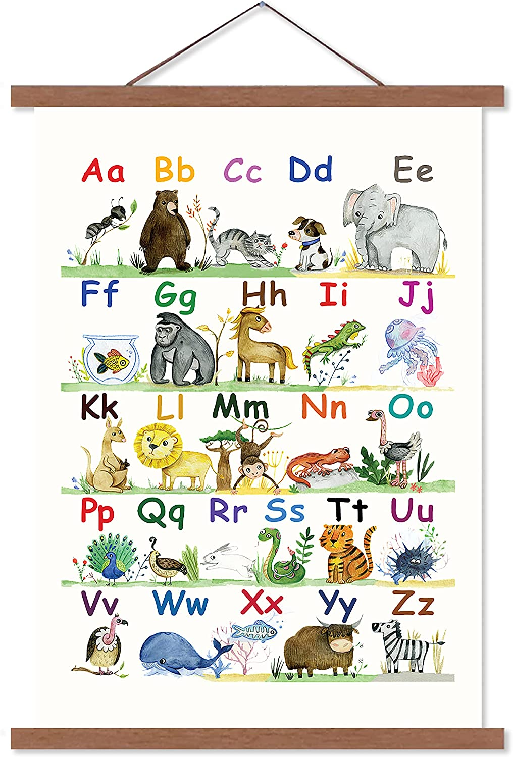 Alphabet Poster for Classroom Decor   ABC Poster for Toddlers Wall Playroom  & Nursery Decor   Canvas Wall Art   20x20   Kids Alphabet Chart Wall ...