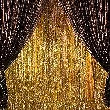 2PCS 3' X 8' Gold and Black Metallic Tinsel Foil Fringe Curtain Halloween Party Decoration