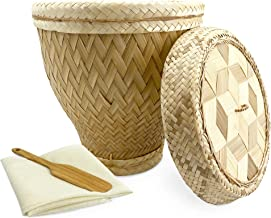 """PANWA Handmade 100% Natural Thai Bamboo Sticky Rice """"Vintage Siam Steamer Set"""", 9 inch Old-World Basket, Wicker Woven Lid,..."""