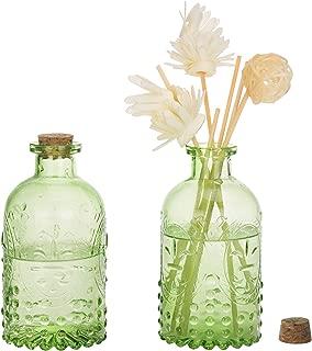 MyGift Vintage Design Embossed Green Glass Bottle with Cork Lid, Set of 2