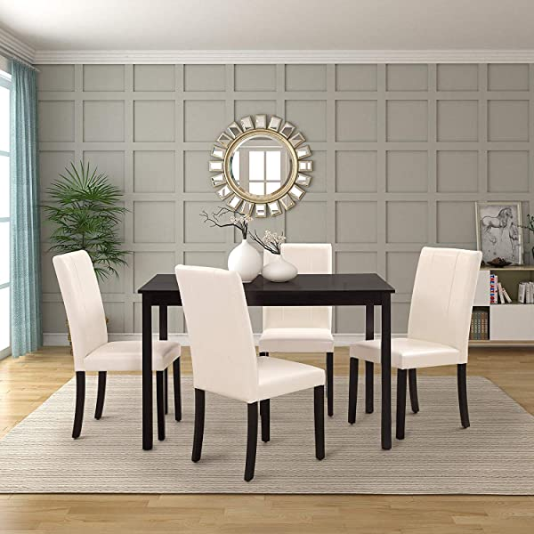 Harper Bright Designs Dining Table Set Kitchen Dining Table Set Wooden Table And 4 PU Leather Chairs For 4 Person White