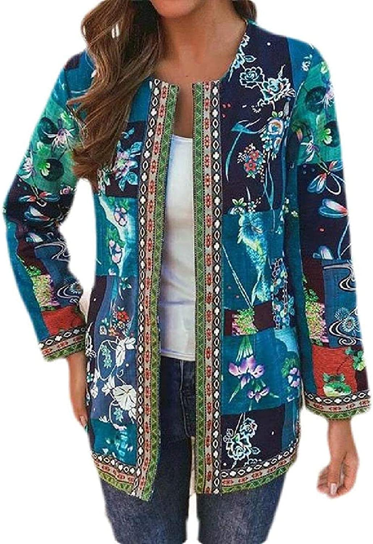 Womens Deluxe Linen Vintage Slim Ethnic Cardigan Open Front Max 60% OFF Jacke Print