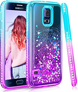 Maxdara Case for Galaxy S5 Glitter Case Gradient Liquid Quicksand Bling Sparkle Pretty Luxury Fashion Diamond Rhinestone Clear TPU Protective for Girls Women Galaxy S5 Case (Teal Purple)