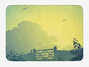 Farmland Bath Mat, Idyllic Landscape with Clouds Trees Flying Gull in The Sky Lush Image Print, Plush Bathroom Decor Mat with Non Slip Backing, Yellow Green,19.6X31.4 inch/50 * 80cm