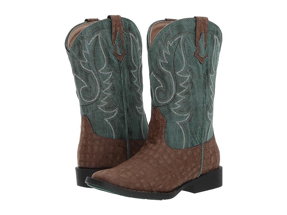 Roper Kids Gator (Toddler/Little Kid) (Brown Faux Caiman Vamp/Green Shaft) Cowboy Boots