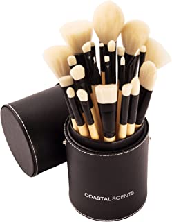 Coastal Scents Limited Edition Handcrafted Elite Make-Up Brush Set - Bamboo Handled, Synthetic Bristles - 24-Piece
