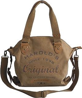 Harolds - dieses Angebot wird - präsentiert von ZMOKA Modische Canvas Tasche von Harolds - Damentasche Shopper Umhängetasche Henkeltasche VintageHandtasche - Baumwollstoff Segelstoff Natur - präsentiert von ZMOKA