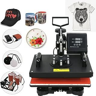 SUPER DEAL 6 in 1 Digital Swing Away Heat Press Clamshell Transfer Machine, T-shirts Heat Press + Mug Press + Cap/Hat Press + Plates Press