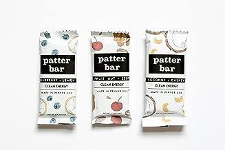 Patterbar Clean Energy Bar, Whole Food Bar, Variety Pack, 4 Coconut Cashew, 4 Blueberry Lemon, 4 Fruit Nut & Seed, No Added Sugar, Vegan, and Gluten Free, 2.15-2.40 Oz. Bar (12 Bars)
