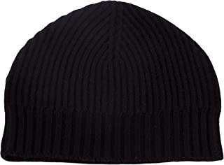 Love Cashmere Mens Ribbed 100% Cashmere Beanie Hat - Black - Made in Scotland RRP $180