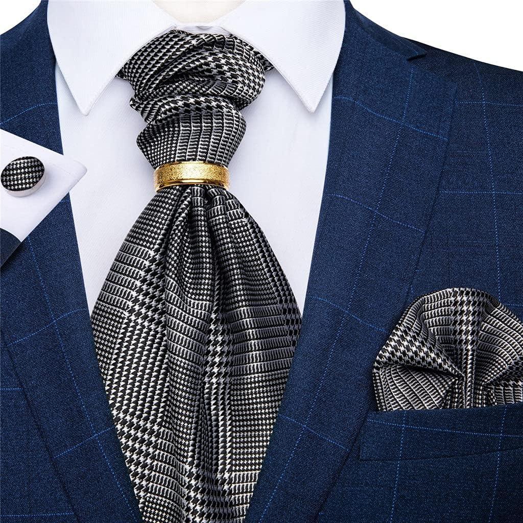 YTREI Men's Vintage Silk Tie Wedding Party Cravat Classic Bussines Gentleman Scarf Ring Set (Color : D, Size : One Size)