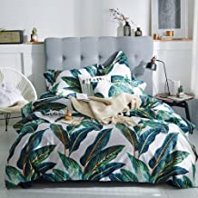 Fresh Leaves Tropical Duvet Cover Set Queen Long Staple Cotton Floral Bedding Set Full Reversible 3 Pcs Leaves Comforter C...