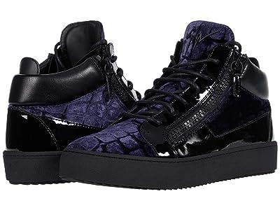 Giuseppe Zanotti May London Velvet Mid Top Sneaker (Navy) Men