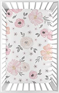 Sweet Jojo Designs Pink and Grey Baby Girl Fitted Mini Portable Crib Sheet Watercolor Floral Collection - for Mini Crib or...