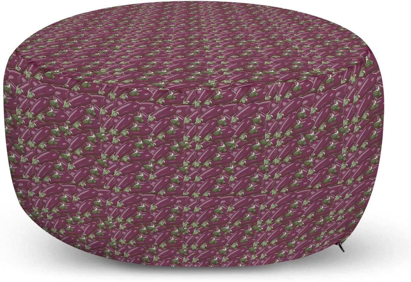 Don't miss the Superior campaign Ambesonne Eggplant Pouf Cover with Retro Zipper Inspired Stacks