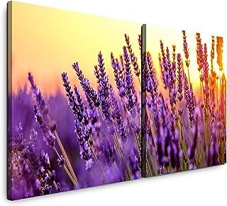 Glasbild 125x50 XL Lavendel Violett Panorama Wandbild Glasbilder Deko Modern