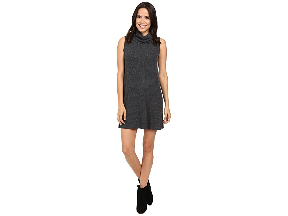 Michael Stars Super Soft Madison Rib Sleeveless Cowl Shift Dress (Charcoal) Women