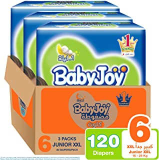 Babyjoy Cullotte Pants Diaper, Mega Pack Junior XXL Size 6, Count 120, 16+ KG