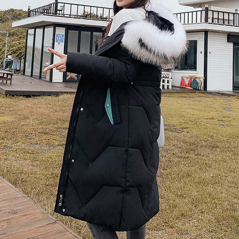 DAIFINEY Damen Mantel Jacke Mit Kapuze Lang Wintermantel Winterjacke Winter warm Coat Outwear 1-schwarz/Black